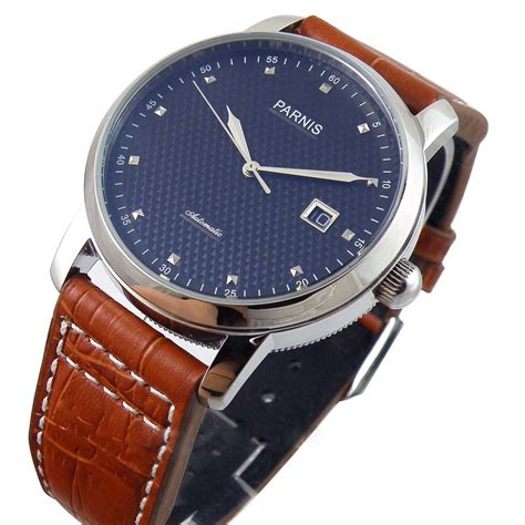 parnis blue regged automatic mens womens silver