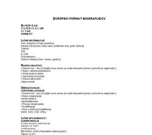 format obrazac za cv curriculum vitae curriculum vitae obrazac za popunjavanje