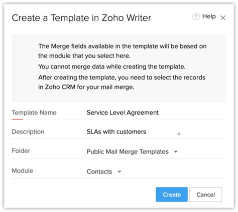 Offer Letter Zoho Managing Mail Merge Templates Help Zoho Crm