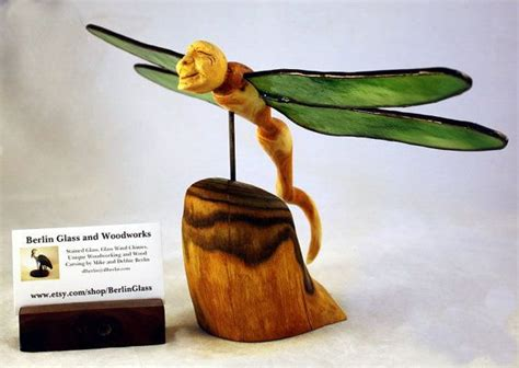 Honestly Its Glass Livio De Marchi by Dragonfly Wood Carving With Stained Glass Wings