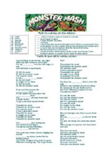 printable lyrics monster mash english teaching worksheets monsters