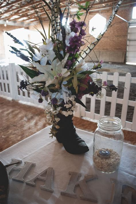Cowboy Boot Flower decorations. $45.00, via Etsy.   Great