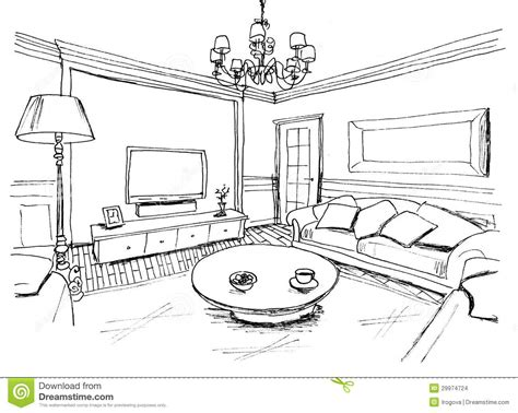 Living Room Drawing by Interiors Living Rooms And Sketches On