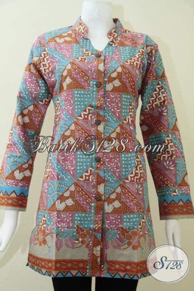 F20217014mot5 L Xl Blus Batik Tulis Panjang Atasan Batik Kantor Mrh baju batik resmi untuk wanita buatan jawa tengah