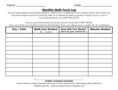 printable multiplication progress chart math fact fluency tracking sheet building number sense
