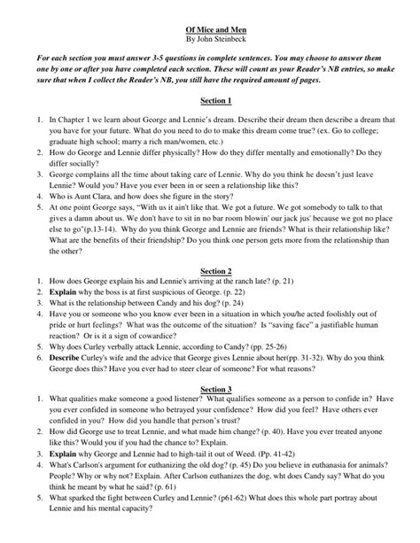 of mice and men section 3 questions of mice and men 2009 10 questions for readers nb