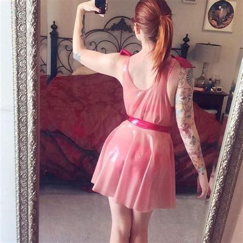 light pink latex dress transparent pink latex sleeveless skater dress with pink