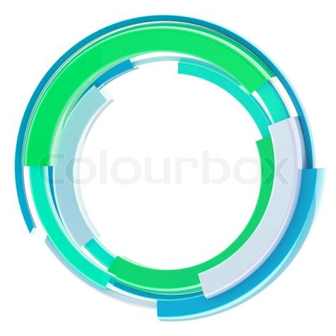 Abstract techno round glossy frame border isolated on white Stock Photo Colourbox