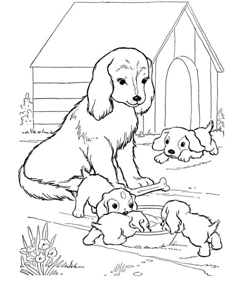 coloring pages of dog and puppy mother dog watches her puppies dog coloring page source