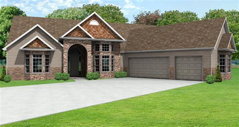 House Plans 3 Car Garage by European Ranch House Plan Greatroom Ranch House Plan With