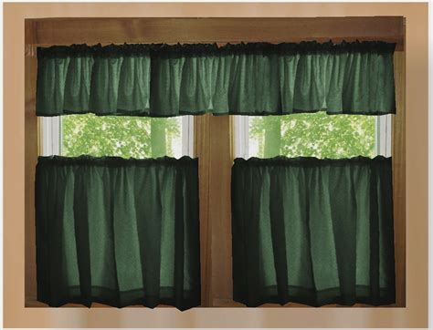 Kitchen Curtain Valance Forest Green Color Tier Kitchen Curtain Two Panel Set