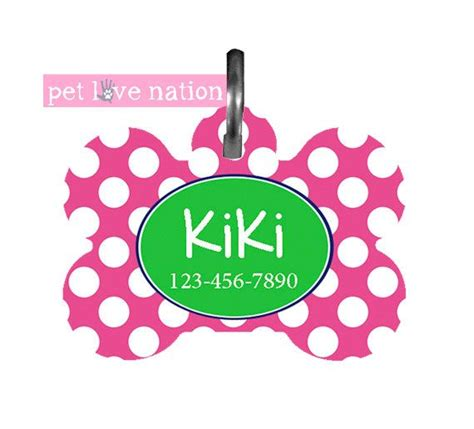 Pink Polka Does It Again Pet Pet Pet Product by Personalized Pet Tag Tag Id Tag Preppy Pink And