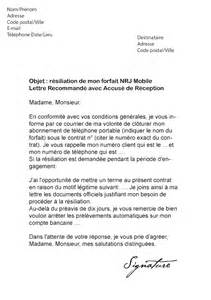 Lettre De Résiliation Free Mobile Immediate Modele Resiliation Forfait Mobile Document