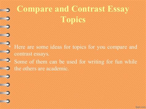 Title Ideas For Compare And Contrast Essays by Sentence Outline Exle