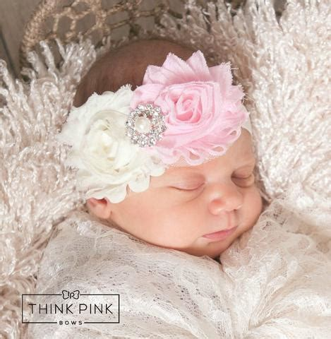 ivory pink trio shabby chic headband think pink bows shabby chic headbands page 4 think pink bows