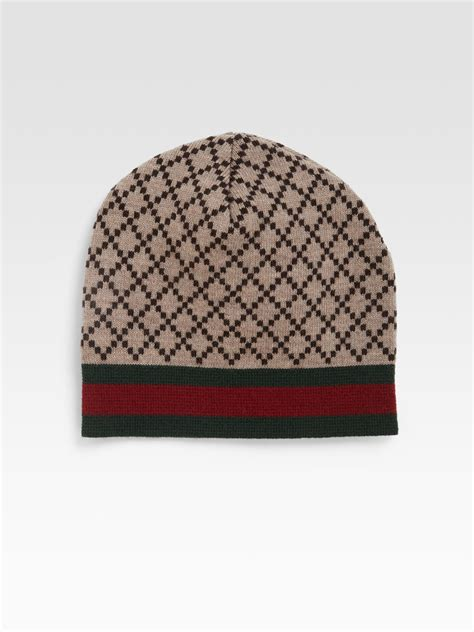 gucci knit hat gucci knit hat in beige for brown lyst