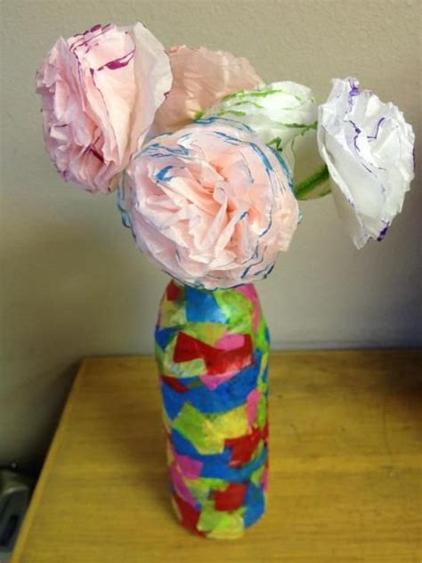 Tissue Paper Flowers In Vase by 3rd Graders Made These Tissue Paper Flowers And Mosaic