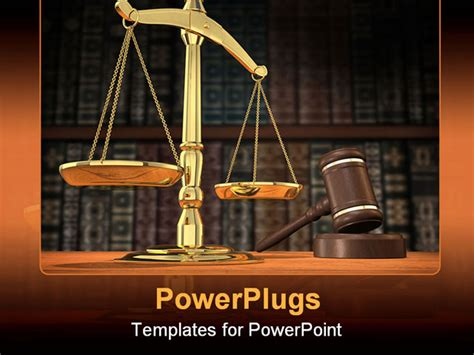 powerpoint templates for justice scales of justice and gavel on desk with dark background