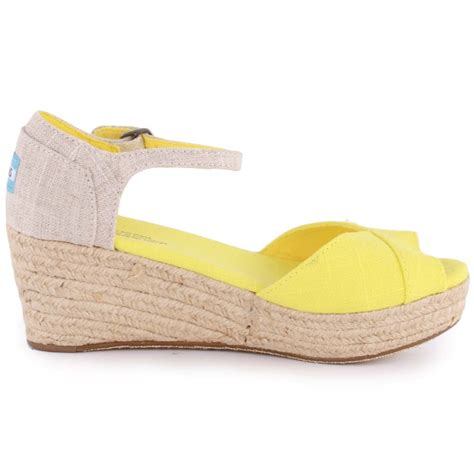 toms platform wedges womens sandals in yellow
