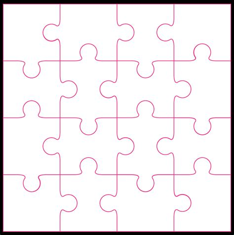 Puzzle Template 16 jigsaw cut file template