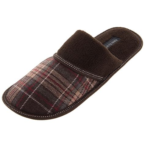 slip on slippers for perry ellis portfolio brown plaid slip on slippers for