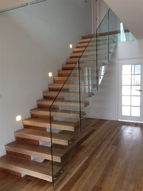 Glass Banister Cost Open Riser Stairs