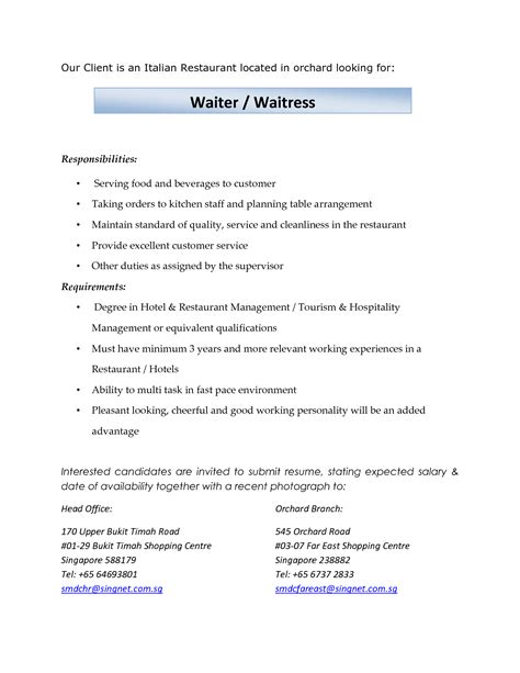 Resume Descriptions For Waitress by Duties Of A Waiter For Resume Billigfodboldtrojer