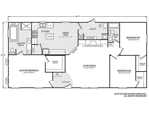 mobile home floor plans eagle 28563x fleetwood homes