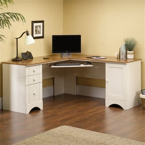 sauder harbor view corner computer desk antiqued paint white computer desk deals on 1001 blocks