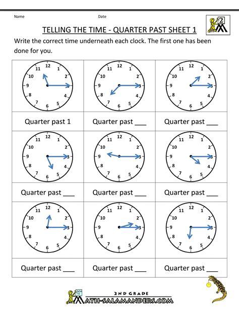 telling time quarter past on quarter past time worksheets