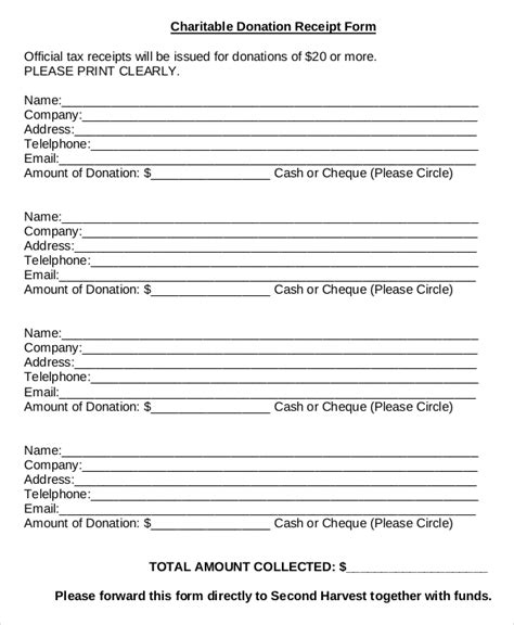 charity receipt template donation sheet template 4 free pdf documents