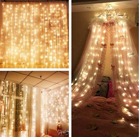 MZD8391 Curtain String Lights, 9.8 X 9.8ft 304 LED Starry
