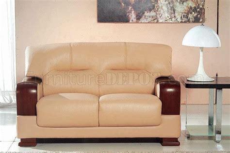 Beige Leather Living Room Set Beige Leather 3pc Modern Living Room Set W Wooden Armrests