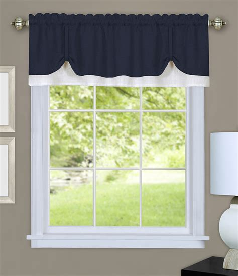 navy and tan curtains darcy layered valance navy white layered valances