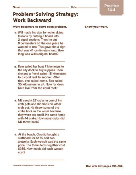 Work Word Problems Worksheet by Problem Solving Practice Worksheets Lesupercoin