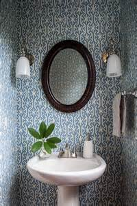 Wallpaper For Small Powder Room Graphic Wallpaper In A Small Powder Room Bathrooms