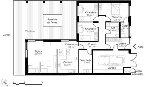 plan maison en l avec garage ooreka