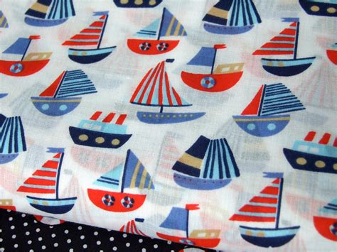 Nautical Patchwork Fabric - nautical ships anchors blue navy white polycotton
