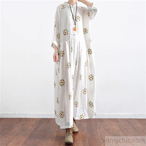 New Maxi Dress White new white prints cotton maxi dress plus size casual linen