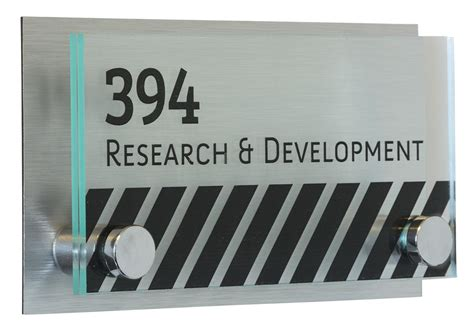 office door sign with brushed metal backing chrome standoffs