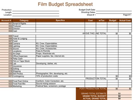 documentary budget template budget template for excel 174 5 spreadsheets