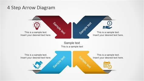 powerpoint layout with 4 pictures 4 step arrows diagram for powerpoint slidemodel