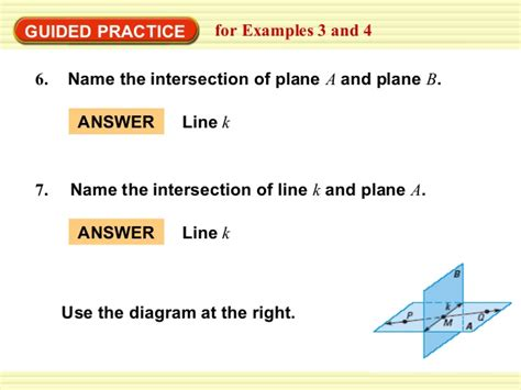 name the line and plane shown in the diagram points lines and planes