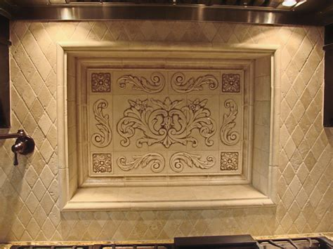 Kitchen Backsplash Medallions Kitchen Backsplash Using Floral Tile Scrolls Medallions