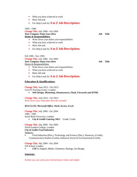 Free Resume Templates For Machinist