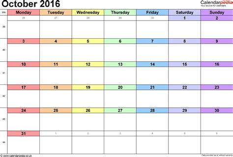 2016 printable calendar xls october 2016 calendar excel monthly calendar printable