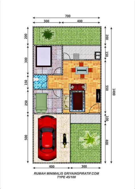 denah rumah minimalis type 45 100 griya inspiratif