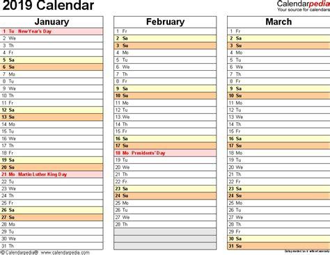 calendar printable excel templates