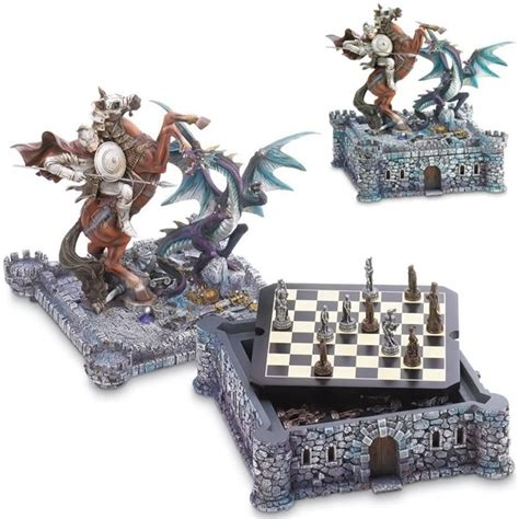 Fancy Chess Set medieval dragon and knight chess board set