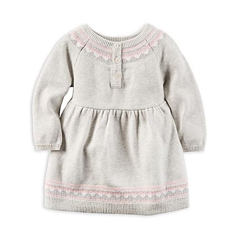 Carters Knit Dress s 174 dress knit sweater with trim in grey bed bath beyond